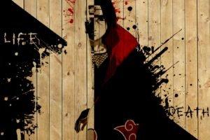 Naruto Shippuuden, Manga, Anime, Uchiha Itachi, Wood, Paint splatter, Typography, Akatsuki