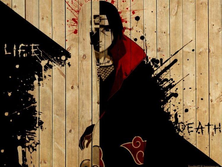 Naruto Shippuuden, Manga, Anime, Uchiha Itachi, Wood, Paint splatter, Typography, Akatsuki HD Wallpaper Desktop Background