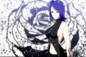 Naruto Shippuuden, Anime, Konan, Flowers, Blue hair