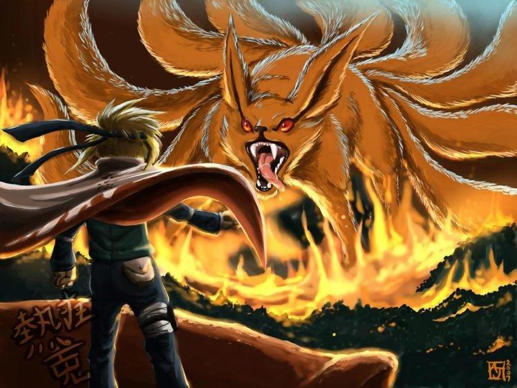 Naruto Shippuuden, Anime, Manga, Kyuubi, Namikaze Minato HD Wallpaper Desktop Background