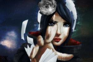 Naruto Shippuuden, Anime, Manga, Konan, Akatsuki, Flower in hair, Blue hair, Paper