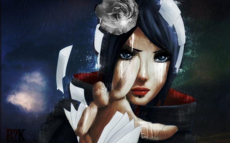 Naruto Shippuuden, Anime, Manga, Konan, Akatsuki, Flower in hair, Blue hair, Paper HD Wallpaper Desktop Background