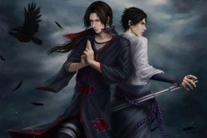 Naruto Shippuuden, Anime, Manga, Uchiha Sasuke, Uchiha Itachi, Raven, Brothers, Feathers