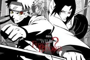 Naruto Shippuuden, Manga, Anime, Uzumaki Naruto, Uchiha Sasuke, Selective coloring