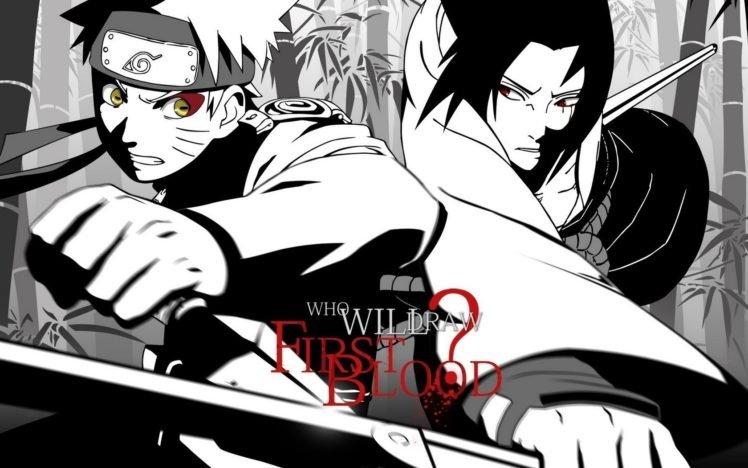 Naruto Shippuuden, Manga, Anime, Uzumaki Naruto, Uchiha Sasuke, Selective coloring HD Wallpaper Desktop Background