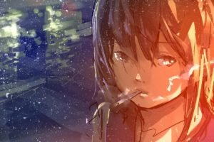 sketches, Smoking, Cigarettes, Drawing, Paint splatter, Anime girls