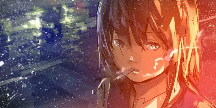 sketches, Smoking, Cigarettes, Drawing, Paint splatter, Anime girls HD Wallpaper Desktop Background