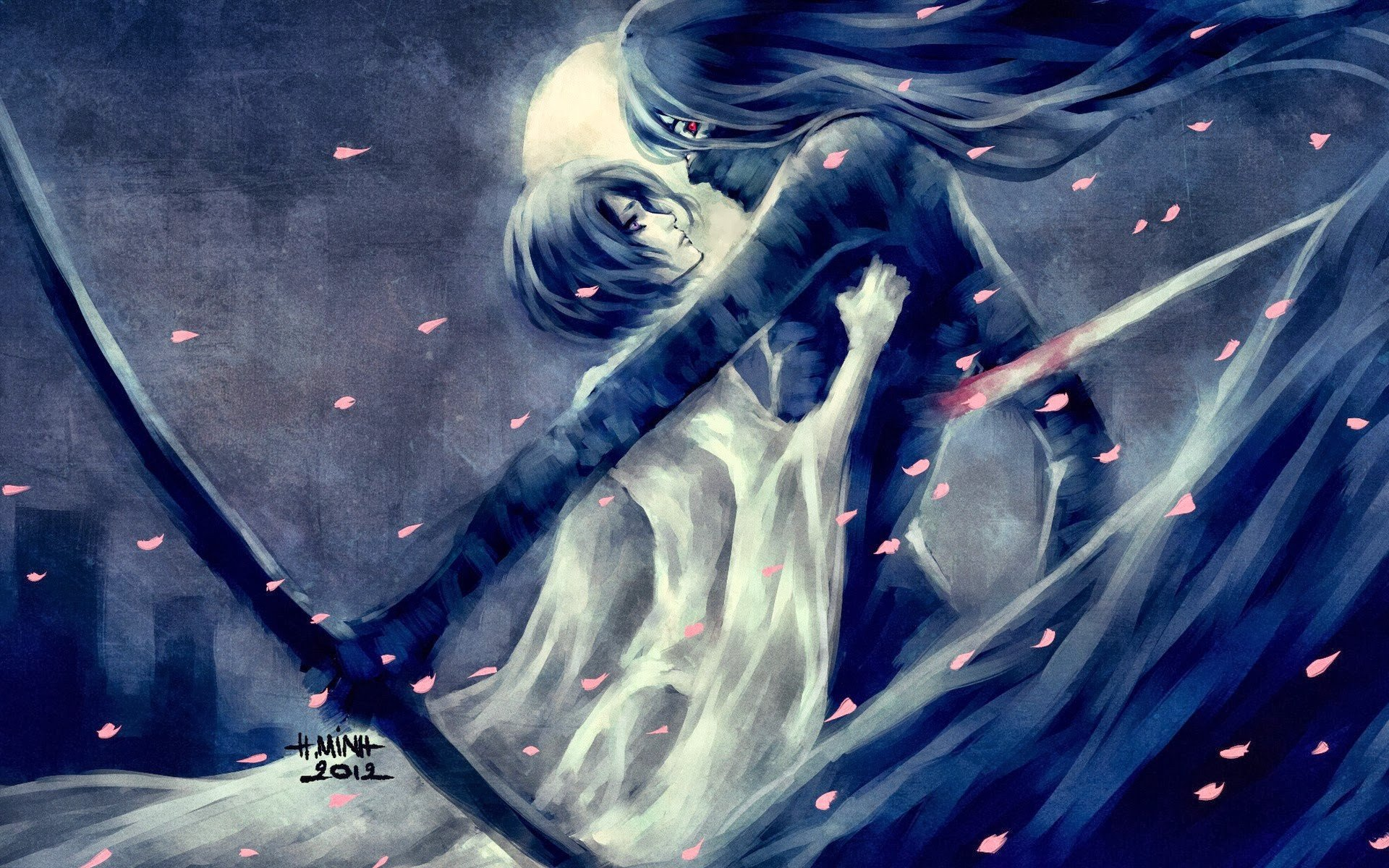 Bleach Kurosaki Ichigo Kuchiki Rukia NanFe Mugetsu Petals Sword Fan Art HD Wallpapers Desktop And Mobile Images Photos
