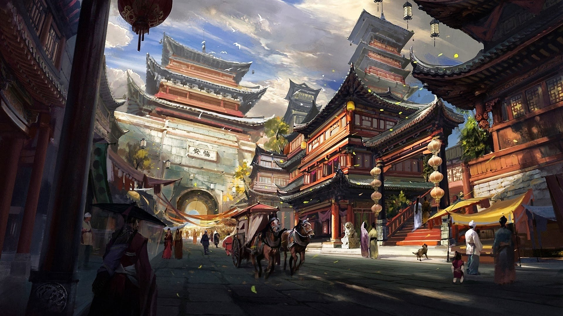 chinese architecture artwork asian hd wallpapers