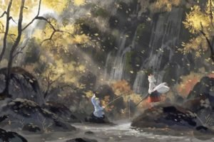 Touhou, Artwork, Waterfall, Sunlight, Inubashiri Momiji, Kawashiro Nitori