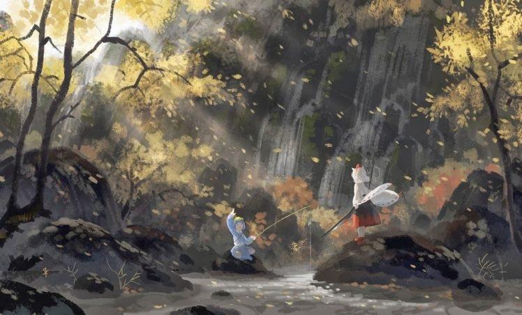 Touhou, Artwork, Waterfall, Sunlight, Inubashiri Momiji, Kawashiro Nitori HD Wallpaper Desktop Background