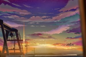 clouds, Artwork, Flares, Sunset, Power lines, Utility pole, Anime