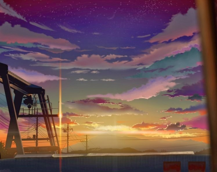 clouds, Artwork, Flares, Sunset, Power lines, Utility pole, Anime HD Wallpaper Desktop Background