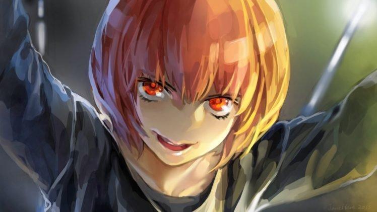 anime girls, Anime, Short hair, Red eyes, Aku no Hana, Nakamura Sawa HD Wallpaper Desktop Background