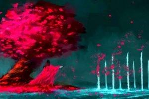 NanFe, Bleach, Kuchiki Byakuya, Cherry blossom, Fan art, Painting