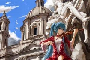 Vocaloid, Hatsune Miku, Violin, Statue