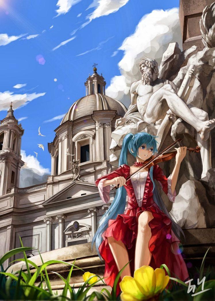 Vocaloid, Hatsune Miku, Violin, Statue HD Wallpaper Desktop Background