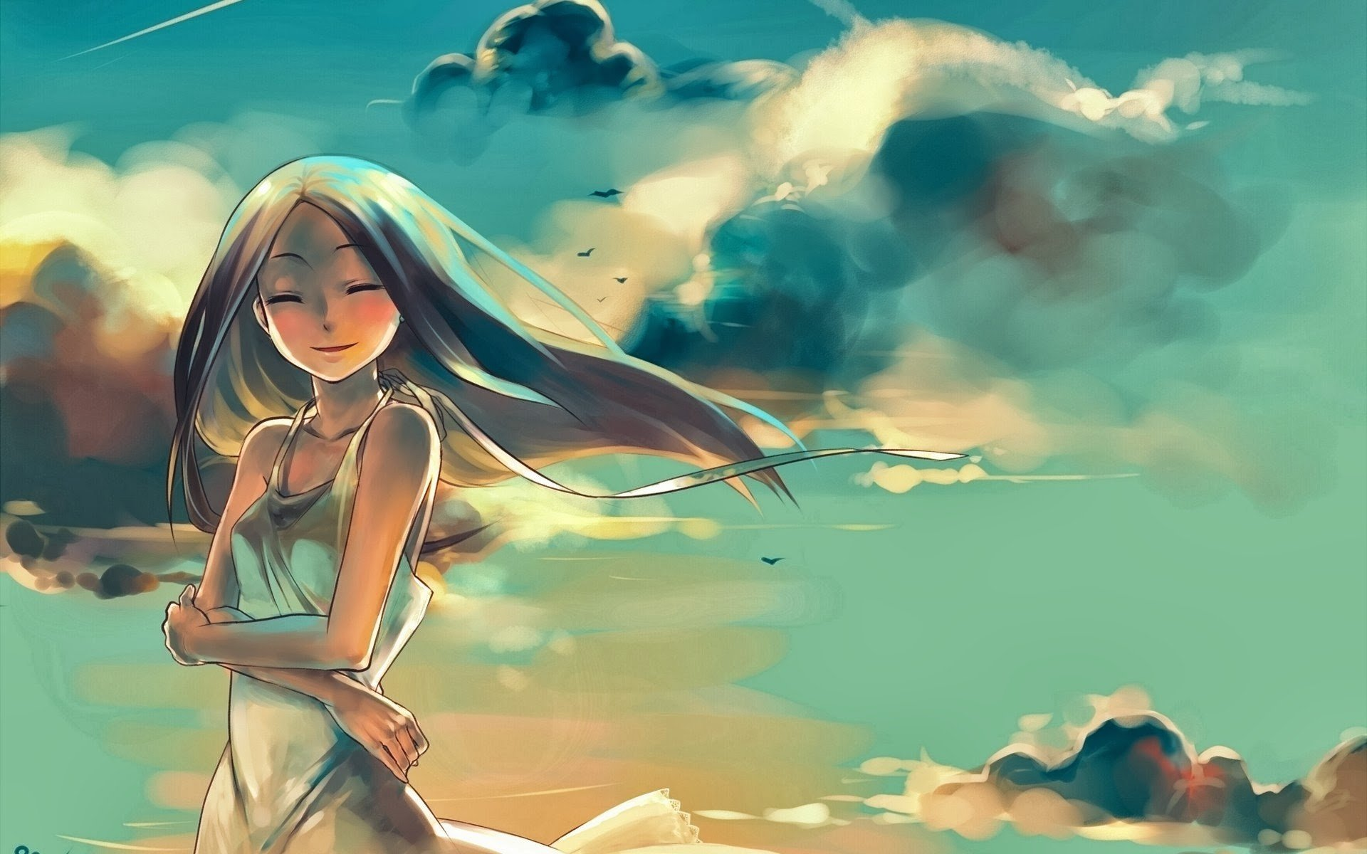 anime, Anime girls, Clouds, Original characters Wallpaper