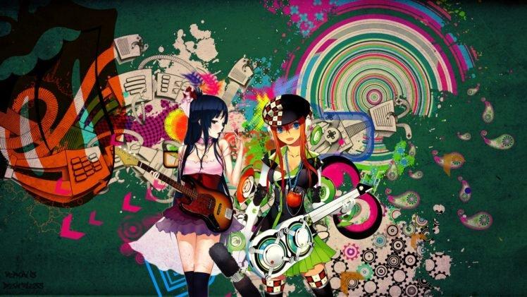 colorful, Snyp, K ON!, Akiyama Mio, Original characters HD Wallpaper Desktop Background