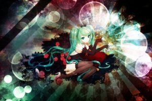 Hatsune Miku, Colorful, Vocaloid, Thigh highs, Detached sleeves