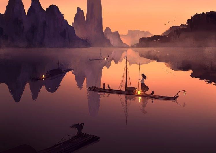 anime, Boat, Water, Digital art HD Wallpaper Desktop Background