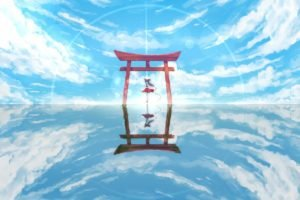 anime, Touhou, Hakurei Reimu, Torii