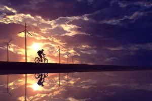 anime, Sky, Cycling