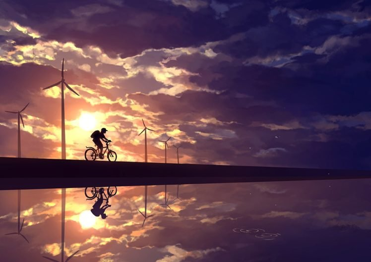 anime, Sky, Cycling HD Wallpaper Desktop Background