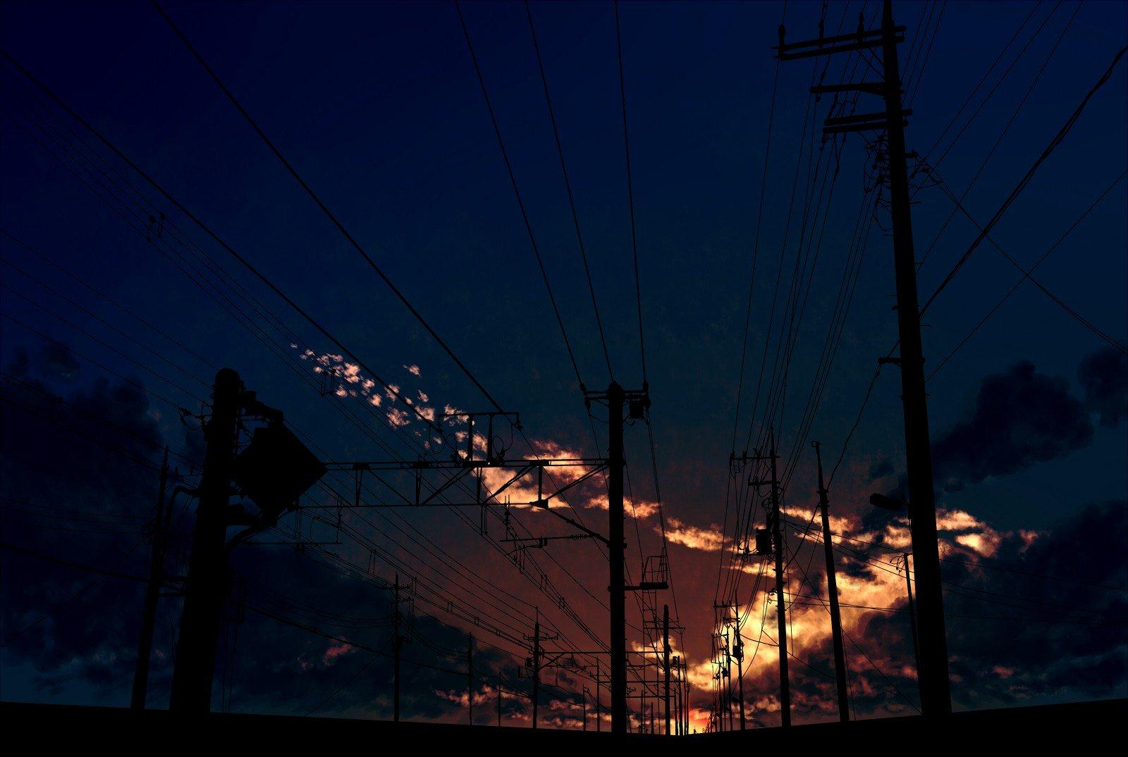 anime, Night, Railway, Clouds Wallpaper