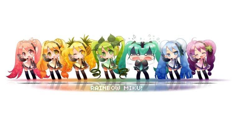 anime, Vocaloid, Hatsune Miku, White background, Simple background HD Wallpaper Desktop Background