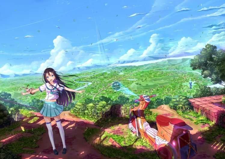 anime, Anime girls, School uniform, Original characters HD Wallpaper Desktop Background