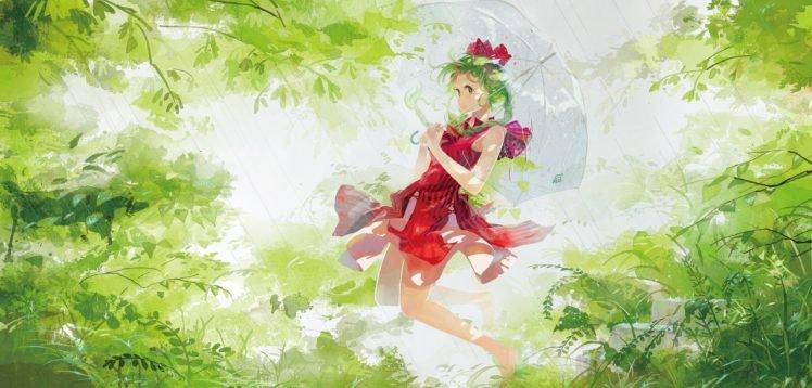 umbrella, Anime girls, Green hair, Kagiyama Hina, Touhou, Rain HD Wallpaper Desktop Background