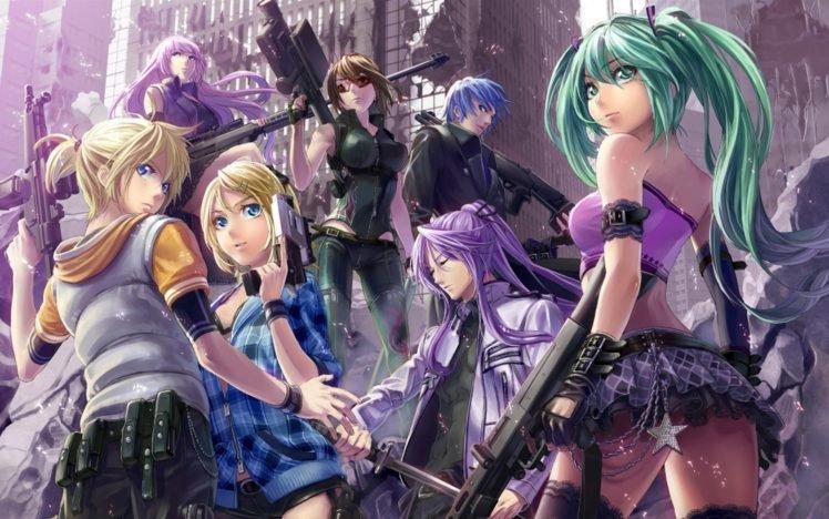 Vocaloid, Hatsune Miku, Megurine Luka, Kagamine Len, Kagamine Rin, Kaito, Meiko, Anime, Anime girls, Kamui Gakupo HD Wallpaper Desktop Background