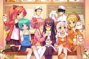 anime, Anime girls, Mahou Shoujo Madoka Magica, Kaname Madoka, Akemi Homura, Tomoe Mami, Miki Sayaka, Momoe Nagisa, Sakura Kyouko