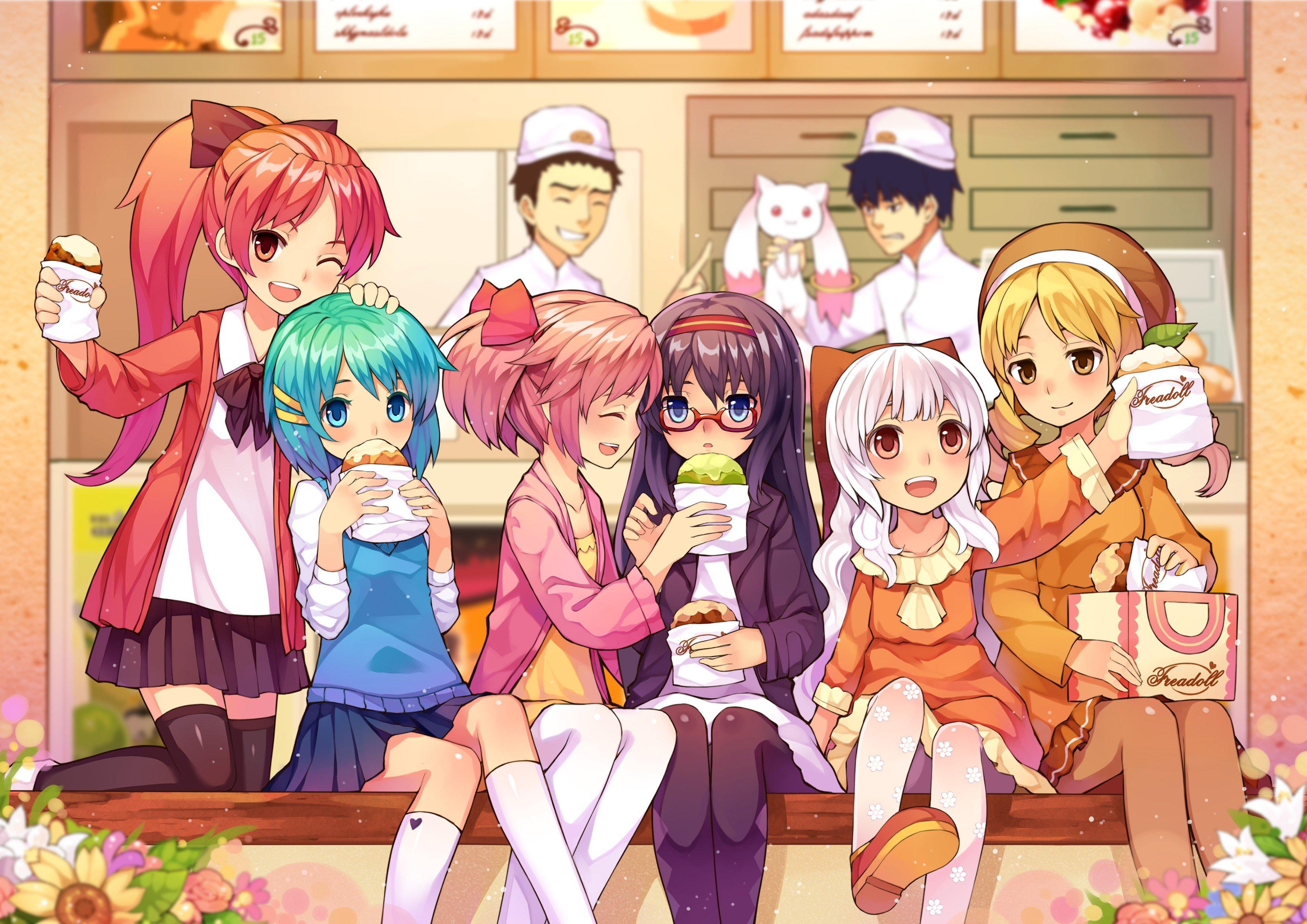 anime, Anime girls, Mahou Shoujo Madoka Magica, Kaname Madoka, Akemi Homura, Tomoe Mami, Miki Sayaka, Momoe Nagisa, Sakura Kyouko Wallpaper