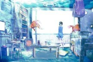 anime girls, Room, Water, Fish, Original characters