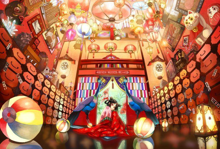 anime girls, Room, Water, Fish, Original characters HD Wallpaper Desktop Background