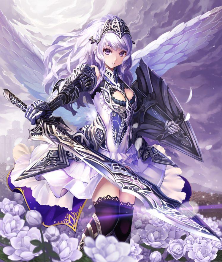 anime, Anime girls, Flowers, Sword, Wings, Original characters, Thigh highs HD Wallpaper Desktop Background