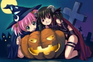 anime girls, Halloween
