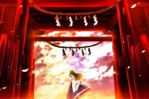 anime girls, Touhou, Kochiya Sanae