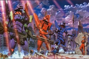 anime, Neon Genesis Evangelion, EVA Unit 02, EVA Unit 00, EVA Unit 01