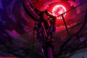 anime, Celty Sturluson, Durarara!!, Fence, Moon