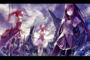 anime, Mahou Shoujo Madoka Magica, Sakura Kyouko, Kaname Madoka, Akemi Homura