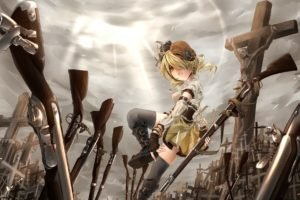 anime, Rifles, Anime girls, Blonde, Mahou Shoujo Madoka Magica, Tomoe Mami