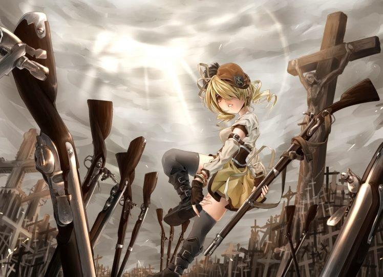 anime, Rifles, Anime girls, Blonde, Mahou Shoujo Madoka Magica, Tomoe Mami HD Wallpaper Desktop Background