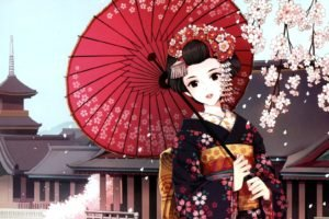 anime, Anime girls, Kimono, Traditional clothing, Cherry blossom, Umbrella, Original characters, Japan