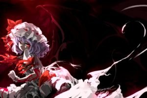 Touhou, Anime girls, Remilia Scarlet, Wings, Red eyes, Mivit