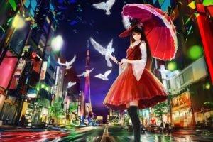 city, Birds, Red dress, Anime girls, Umbrella, Thigh highs