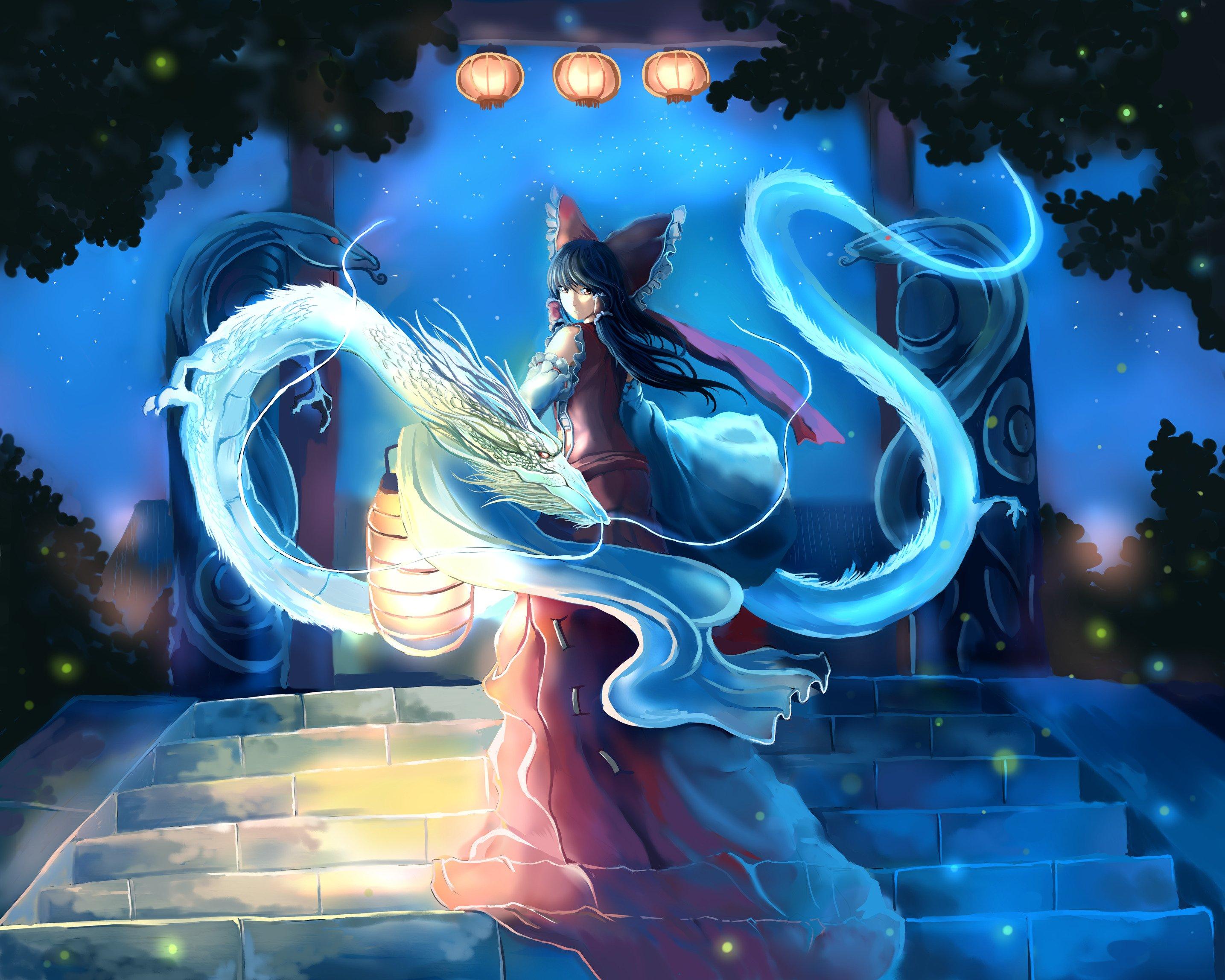 dragon, Touhou, Anime girls, Hakurei Reimu Wallpaper
