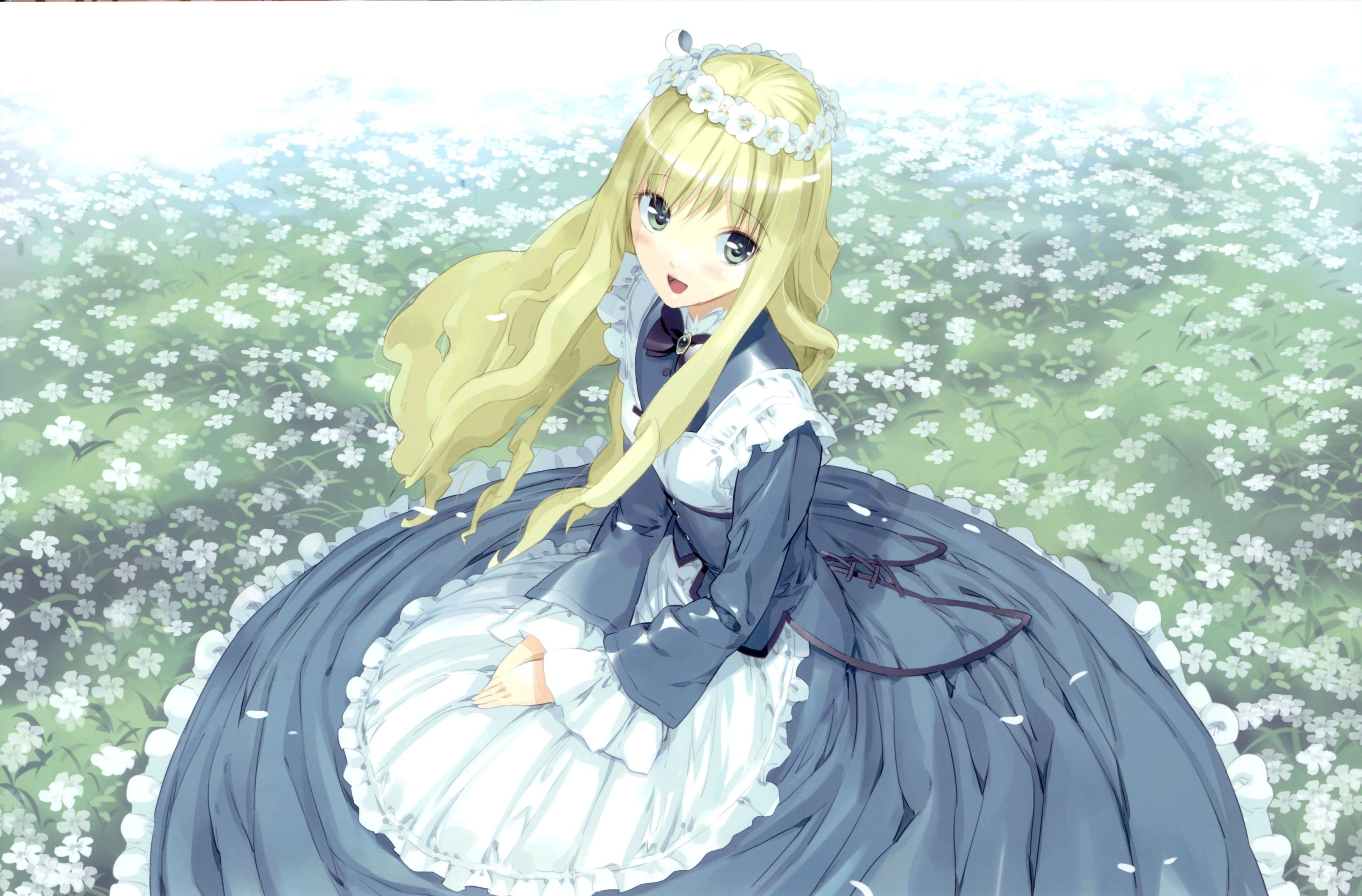 Anime Girls Flowers Alice In Wonderland Hd Wallpapers Desktop
